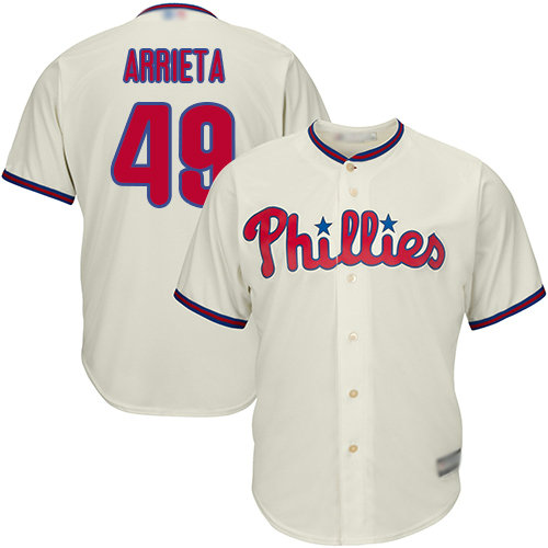 Phillies #49 Jake Arrieta Cream Cool Base Stitched Youth Baseball Jersey