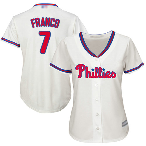 Phillies #7 Maikel Franco Cream Alternate Women's Stitched Baseball Jersey