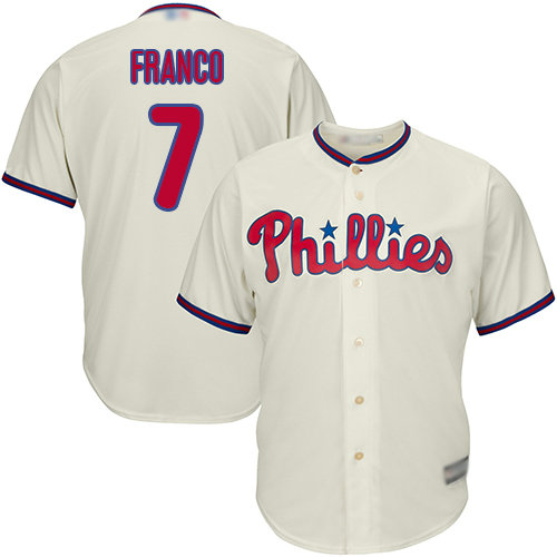 Phillies #7 Maikel Franco Cream Cool Base Stitched Youth Baseball Jersey