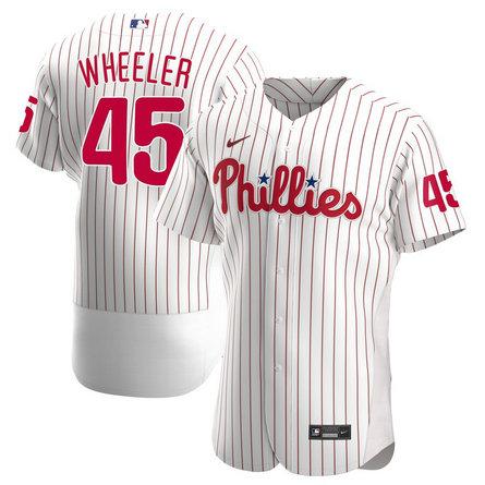 Phillies 45 Zack Wheeler White Nike 2020 Flexbase Jersey