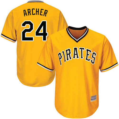 Pirates #24 Chris Archer Gold Cool Base Stitched Youth Baseball Jersey