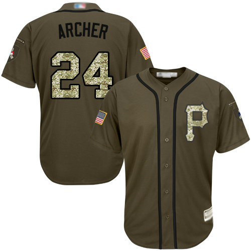 Pirates #24 Chris Archer Green Salute to Service Stitched Youth Baseball Jersey