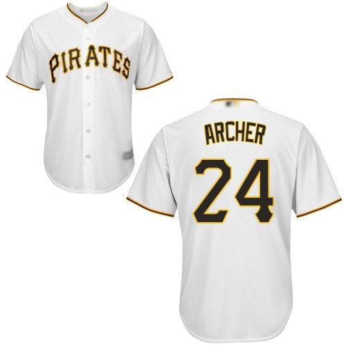 Pirates #24 Chris Archer White Cool Base Stitched Youth Baseball Jersey