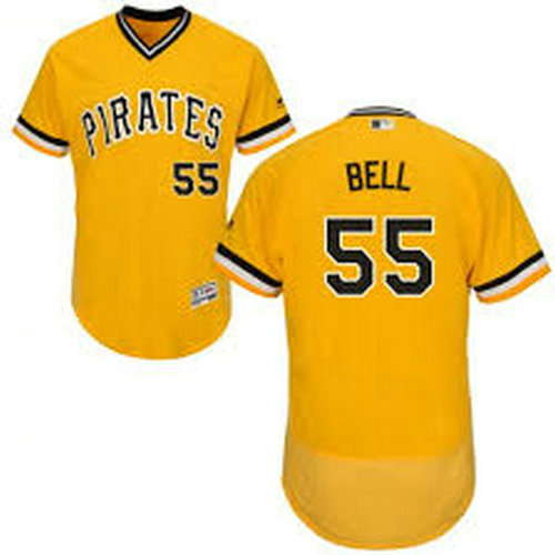 Pirates #55 Josh Bell Gold Flexbase Stitched MLB Jersey