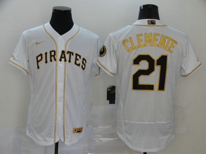 Pirates 21 Roberto Clemente White Gold 2020 Nike Flexbase Jersey