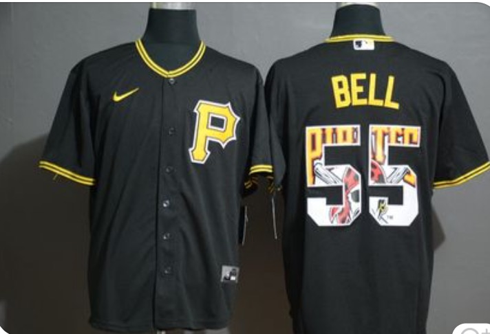 Pirates 55 Josh Bell Black Logo in Number Cool Base Jersey