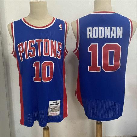 Pistons 10 Dennis Rodman Blue 1988 89 Hardwood Classics Jersey