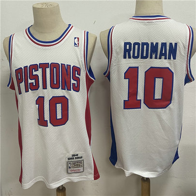 Pistons 10 Dennis Rodman White 1988 89 Hardwood Classics Jersey