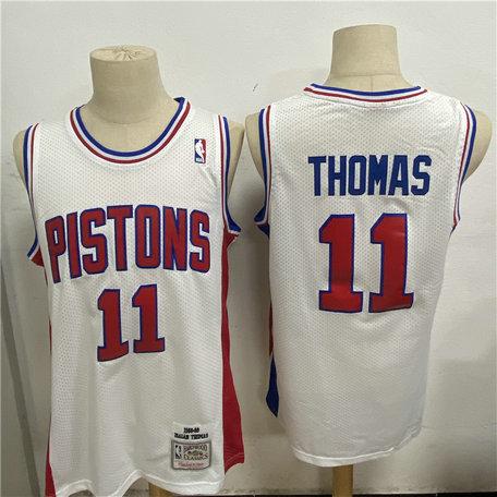 Pistons 11 Isiah Thomas White 1988 89 Hardwood Classics Jersey