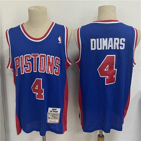 Pistons 4 Joe Dumars Blue 1988 89 Hardwood Classics Mesh Jersey