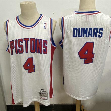 Pistons 4 Joe Dumars White 1988 89 Hardwood Classics Mesh Jersey