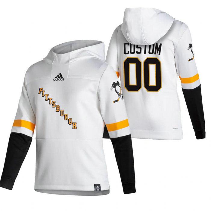 Pittsburgh Penguins Custom Adidas Reverse Retro Pullover Hoodie White