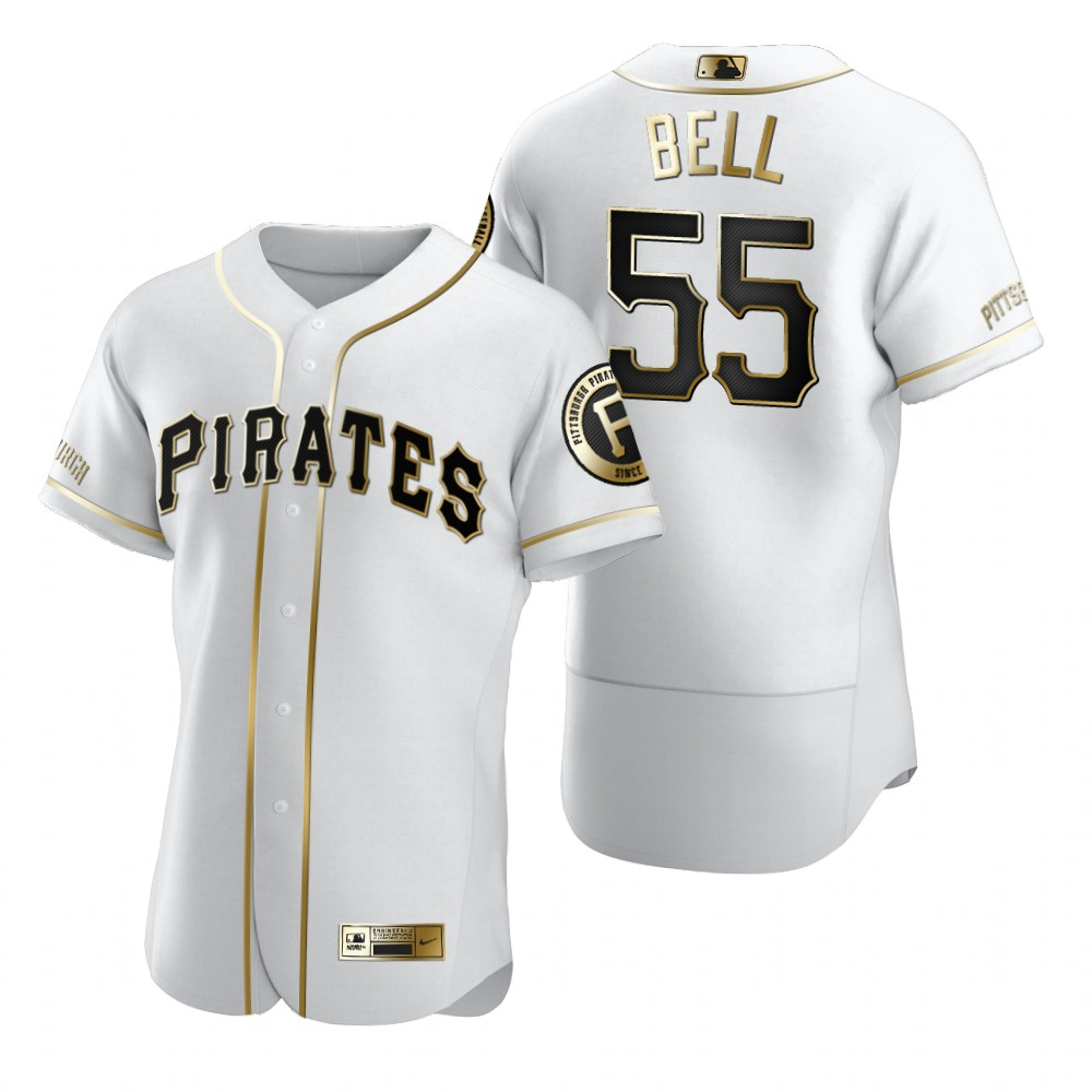 Pittsburgh Pirates #55 Josh Bell White Nike Men's Authentic Golden Edition MLB Jersey