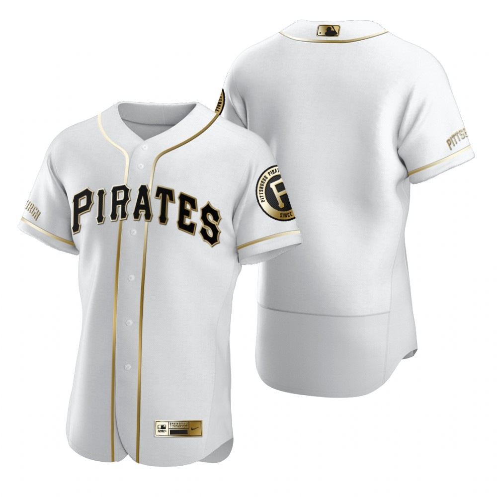 Pittsburgh Pirates Blank White Nike Men's Authentic Golden Edition MLB Jersey
