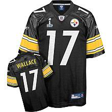 Pittsburgh Steelers #17 Mike Wallace 2011 Super Bowl XLV Team Color Jersey black