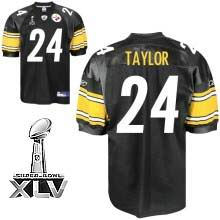 Pittsburgh Steelers #24 Ike Taylor Black Team Color 2011 Super Bowl XLV jerseys black