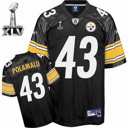 Pittsburgh Steelers #43 Troy Polamalu 2011 Super Bowl XLV Team Color Jersey black