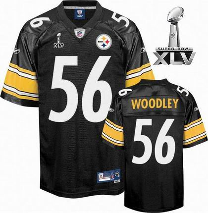 Pittsburgh Steelers #56 LaMarr Woodley Team Color 2011 Super Bowl XLV jersey black