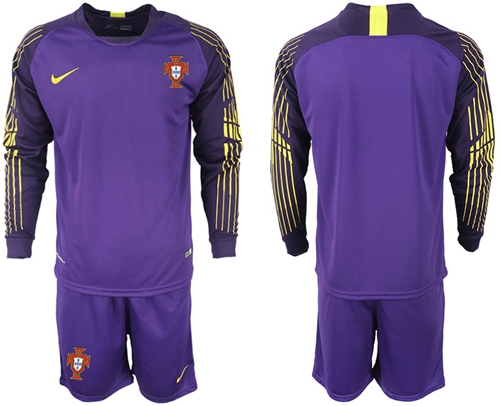 Portugal Blank Purple Goalkeeper Long Sleeves Soccer Country Jersey