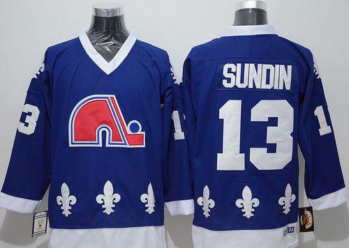 Quebec Nordiques 13 Mats Sundin Blue CCM Throwback NHL Jersey