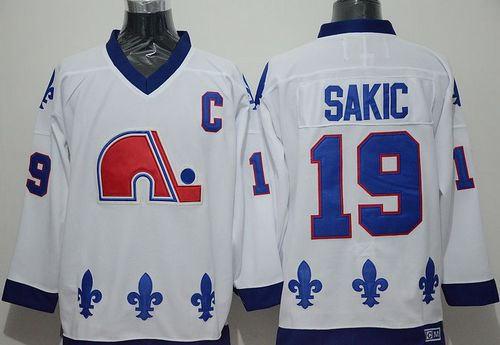Quebec Nordiques 19 Joe Sakic Whtie CCM Throwback NHL Jersey