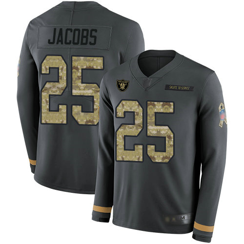 Raiders #25 Josh Jacobs Anthracite Salute to Service Men's Stitched Football Limited Therma Long Sleeve Jersey