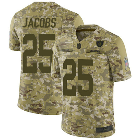 Raiders #25 Josh Jacobs Camo Men's Stitched Football Limited 2018 Salute To Service Jersey