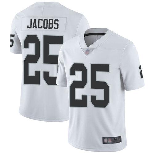 Raiders #25 Josh Jacobs White Men's Stitched Football Vapor Untouchable Limited Jersey