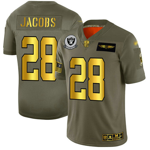 Raiders #28 Josh Jacobs Camo Gold Men's Stitched Football Limited 2019 Salute To Service Jersey