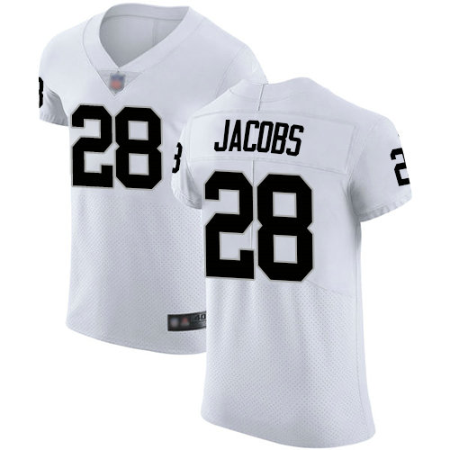 Raiders #28 Josh Jacobs White Men's Stitched Football Vapor Untouchable Elite Jersey