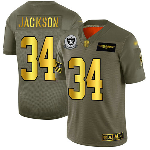 Raiders #34 Bo Jackson Camo Gold Men's Stitched Football Limited 2019 Salute To Service Jersey