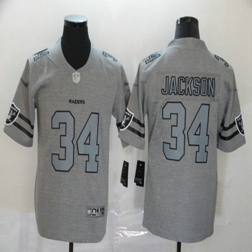Raiders #34 Bo Jackson Gray Men's Stitched Football Limited Team Logo Gridiron Jersey