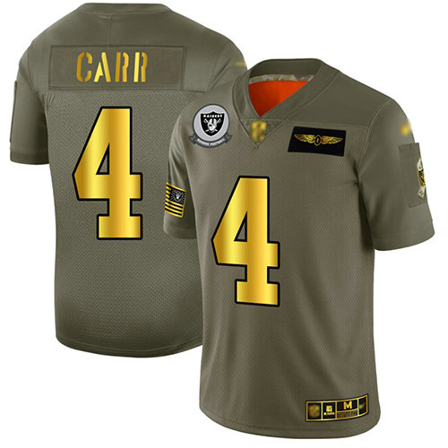 Raiders #4 Derek Carr Camo Gold Men's Stitched Football Limited 2019 Salute To Service Jersey