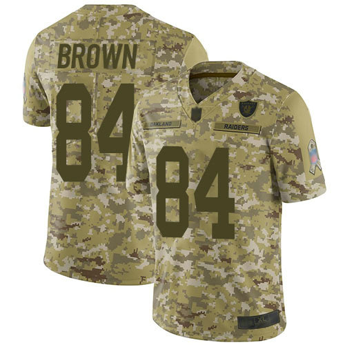 Raiders #84 Antonio Brown Camo Men's Stitched Football Limited 2018 Salute To Service Jersey