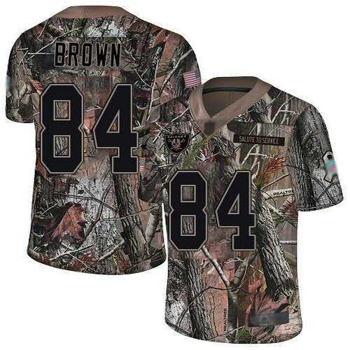 Raiders #84 Antonio Brown Camo Youth Stitched Football Limited Rush Realtree Jersey