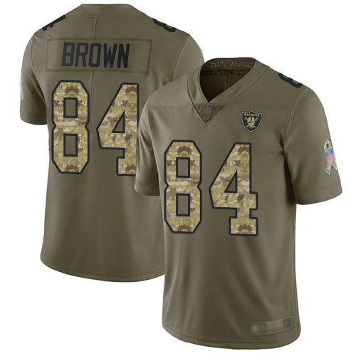Raiders #84 Antonio Brown Olive Camo Youth Stitched Football Limited 2017 Salute to Service Jersey