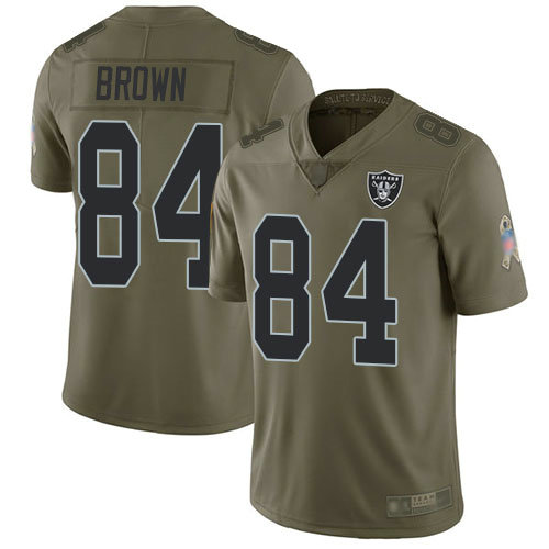 Raiders #84 Antonio Brown Olive Youth Stitched Football Limited 2017 Salute to Service Jersey