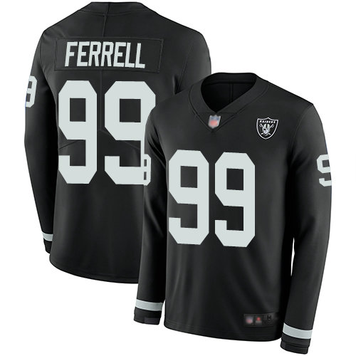 Raiders #99 Clelin Ferrell Black Team Color Men's Stitched Football Limited Therma Long Sleeve Jersey