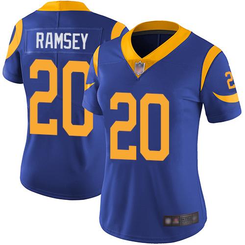 Rams #20 Jalen Ramsey Royal Blue Alternate Women's Stitched Football Vapor Untouchable Limited Jersey