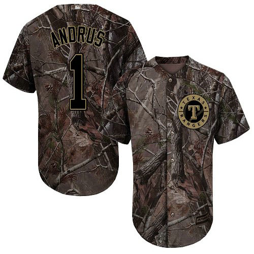 Rangers #1 Elvis Andrus Camo Realtree Collection Cool Base Stitched Youth Baseball Jersey