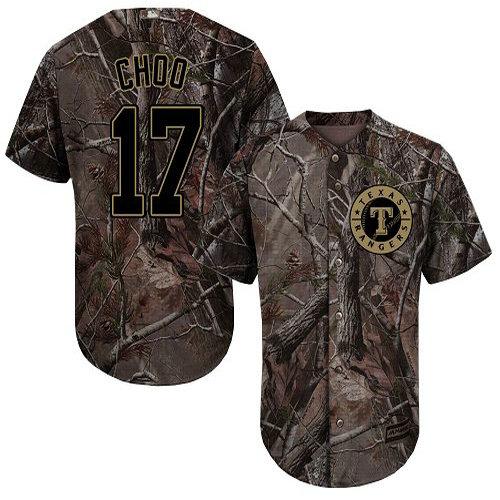 Rangers #17 Shin-Soo Choo Camo Realtree Collection Cool Base Stitched Youth Baseball Jersey