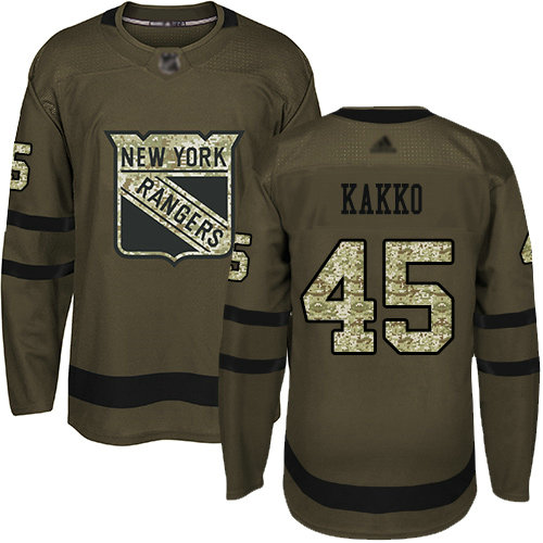 Rangers #24 Kaapo Kakko Green Salute to Service Stitched Youth Hockey Jersey