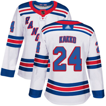 Rangers #24 Kaapo Kakko White Road Authentic Women's Stitched Hockey Jersey