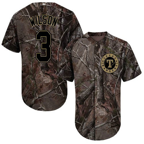 Rangers #3 Russell Wilson Camo Realtree Collection Cool Base Stitched Youth Baseball Jersey