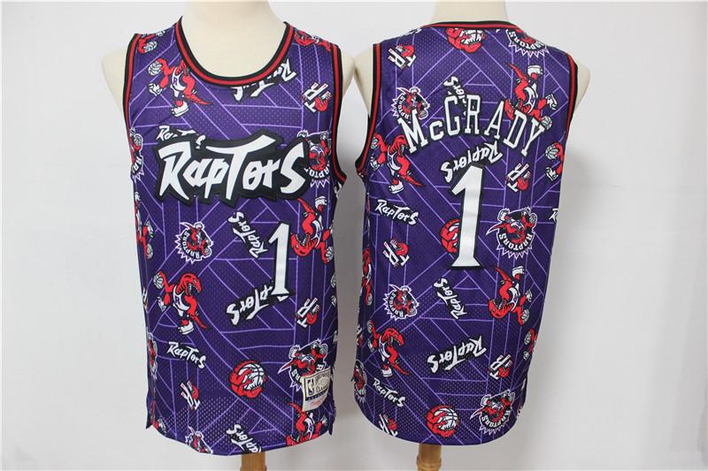 Raptors 1 Tracy McGrady Purple Tear Up Pack Hardwood Classics Swingman Jersey