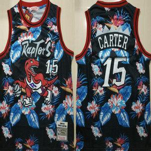 Raptors 15 Vince Carter Black 1998-99 Hardwood Classics Floral Fashion Swingman Jersey