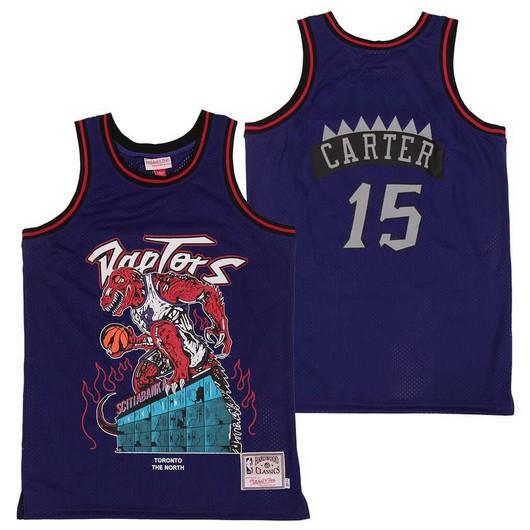 Raptors 15 Vince Carter Purple Hardwood Classics Skull Edition Jersey