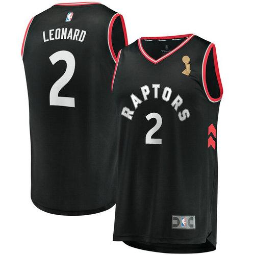 Raptors 2 Kawhi Leonard Black 2019 NBA Finals Champions Swingman Jersey