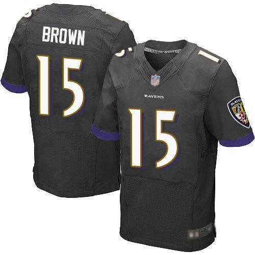 Ravens #15 Marquise Brown Black Alternate Men's Stitched Football New Elite Jersey