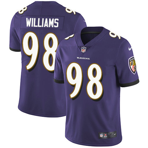 Ravens #98 Brandon Williams Purple Team Color Youth Stitched Football Vapor Untouchable Limited Jersey